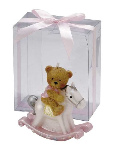 Teddy Bear on a Rocking Horse Candle in a Clear Box - Pink (Pink Bear Teddy Candle)