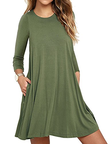 UMETINY Women's Pockets Dress Casual Swing T-shirt Dresses (XL, Long Army Green)