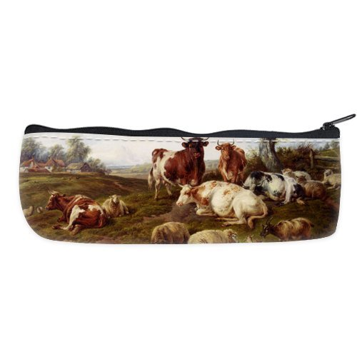 Cheap And Nice Cattle Sheep Resting Nylon Oxford Pencil Pouch Bag / Cosmetic Bag / Carrying Case (Two Side)