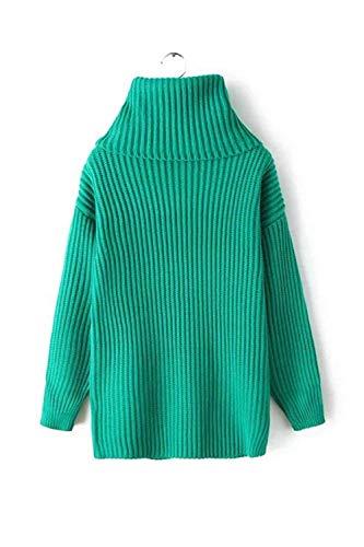 Pullover A Manica Alto Verde Inverno Donna Maglione Caldo Elegante Collo Abbigliamento Dolcevita Moda Maglia Lunga xTIWnU67wq