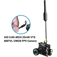 ALWUP AIO 800TVL CMOS Mini FPV Camera 5.8GHz 48CH 25mW Transmitter Switchable Raceband for FPV Drone (Black)