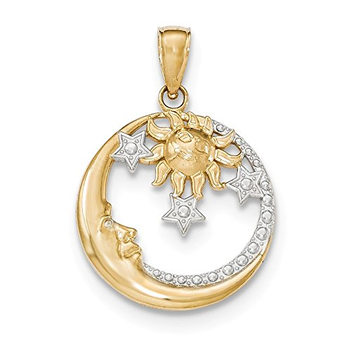 (14k Two-tone Gold Moon Stars and Sun Pendant)