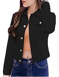 pipigo - Chamarra de Mezclilla con Botones Frontales y Bolsillos para Mujer