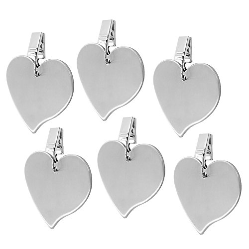(TEKEFT Set of 6 Stainless Steel Heart Shaped Table Cover Tablecloth Weights (6))