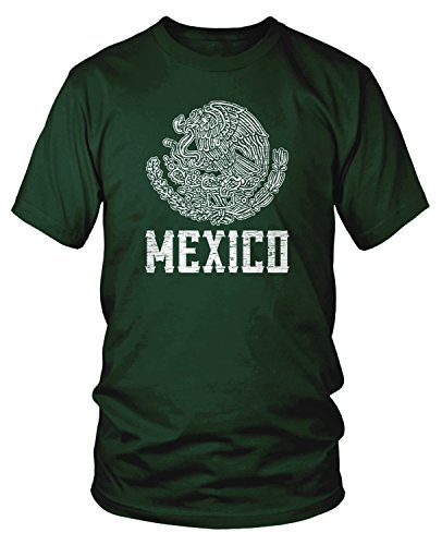 Amdesco Men's Mexican Coat of Arms, Coat of Arms of Mexico T-Shirt, Forest Green -