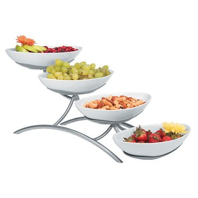 Cal-Mil PP2000-13 Prestige 4 Tier Display, 9'' Height, 7'' Width, 19'' Length, Porcelain, Black by Cal Mil
