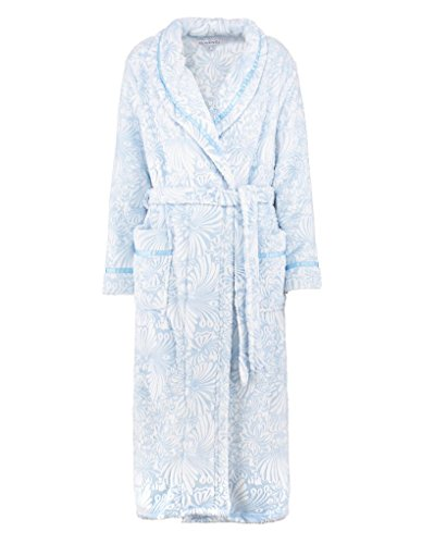 Slenderella HC7307 Women's Blue Floral Dressing Gown Robe Housecoat