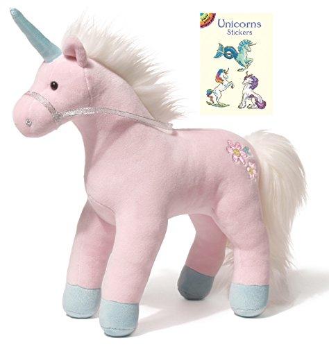 Gund Starflower Pink Unicorn Plush Animal with Unicorn Sticker Book, 15