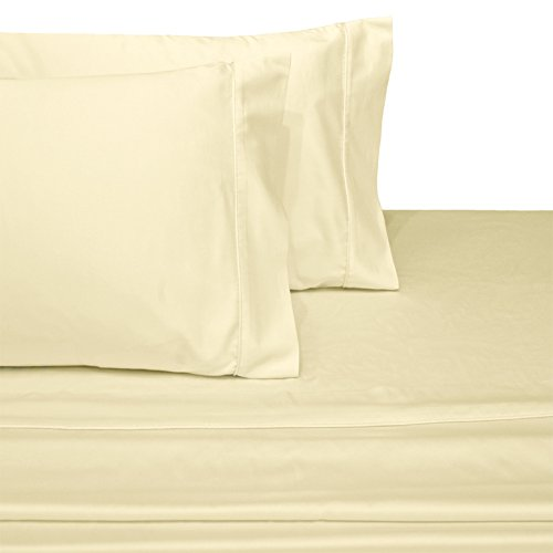 Deluxe and Super Soft Brushed Microfiber Attached Waterbed Sheet Set with Pole Attachment, 4 Piece California King Size, Ivory -