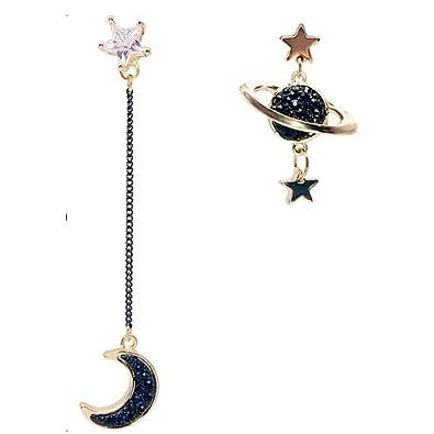 Ukallaite Asymmetrical Star Moon Ear Stud Rhinestone Dangle Earrings for Women Jewelry GBA0c6yjpP