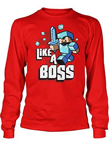 JINX Minecraft Big Boys' Like a Boss Long-Sleeve Premium Cotton T-Shirt (Red, Small) - Like Big Boys T-shirt