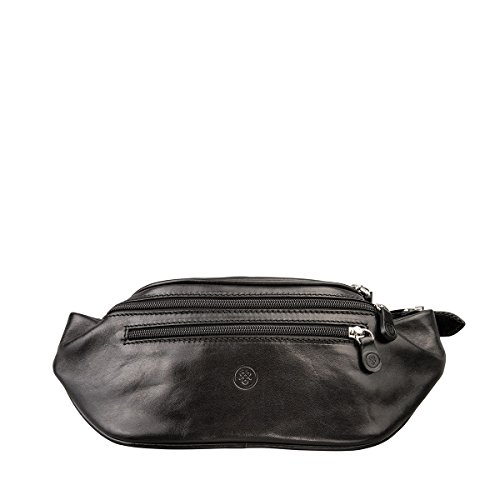 Maxwell Scott Quality Leather Black Fanny Pack (Centolla) by Maxwell Scott Bags