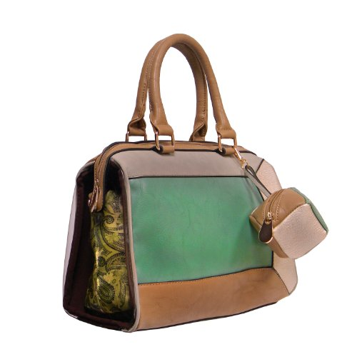 """Krystal"" Medium Satchel by Donna Bella Designs (Stone) - Bella Satchel"