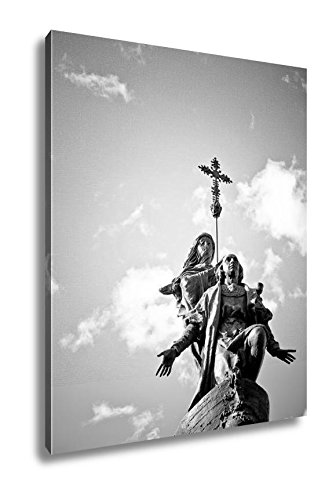 Ashley Canvas Christopher Columbus Monument Valladolid Spain, Wall Art Home Decor, Ready to Hang, Black/White, 20x16, AG6376771 by Ashley Canvas