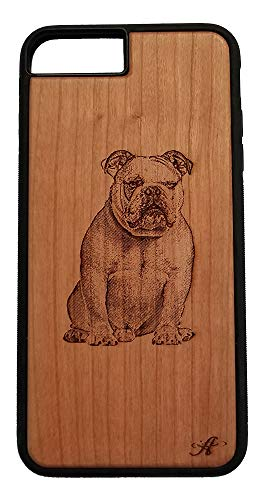 Georgia Bulldogs Cell Phone Case - iPhone 6,7,8 Plus Compatible Laser Engraved Cherry Wood Cell Phone Case...Created from a Photo of an English Bulldog