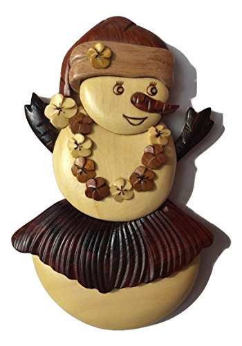 Ornament Wooden Santa - Wooden Handmade Christmas Ornament Snow Man Snow Lady w/Hula Skirt, Plumeria Lei, & Santa Hat Design