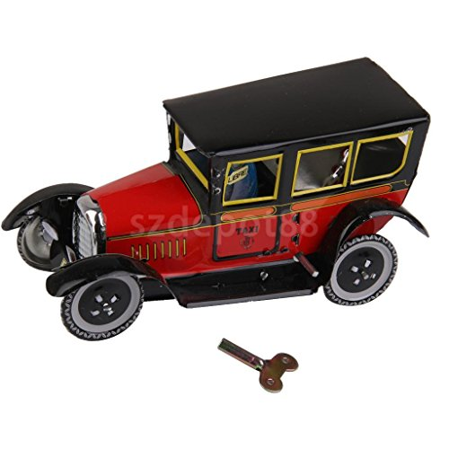 (OKOKMALL US--Wind Up CLOCKWORK Vintage Model Taxi Car and Driver Tin Toy Collectible Gift)