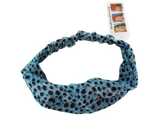 Blue Leopard Print Headband - Faux Leopard / Cheetah Headband - Stylish Fashion Headband