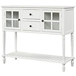 Farmhouse Buffet Sideboards ZFRANC Sideboard Console Table with Bottom Shelf Farmhouse Wood/Glass Buffet Storage Cabinet Living Room farmhouse buffet sideboards