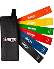 Xtreme Bands Resistance Loops | 6 Level Set: X-Light through XX-Heavy | For Home Fitness, Gym Workouts or Outdoor Exercise | 12 Inch Length Natural Latex Coloured Stretchy Bands for Yoga, Pilates, Strength Training & Physical Therapy | Bonus Travel Bag & Workout Manual