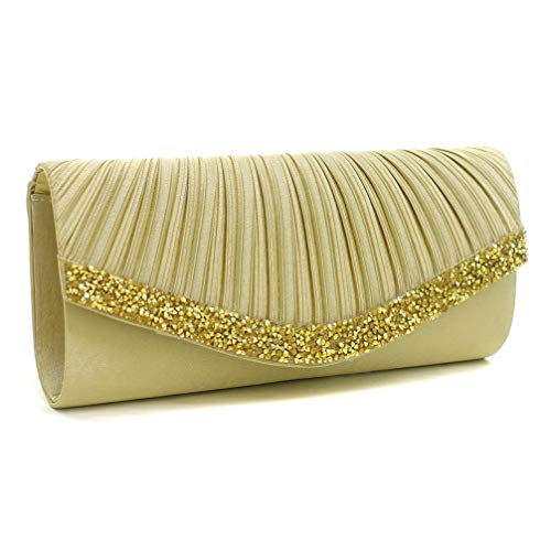 Dasein Women's Satin Pleated Evening Bags Rhinestone Accented Flap Clutch Purses with Silver Chain Strap Glod