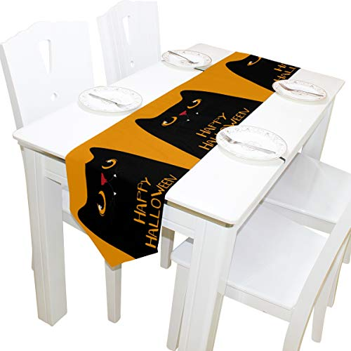 ALAZA Happy Halloween Black Cat Orange Table Runners Home Decorative Coffee Table 13 x 70 Inches Polyester Tablecloths for Modern Stylish Wedding Party]()
