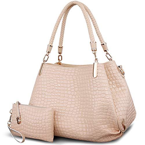 Sacs Lady sac Borse Crocodile à Totes Femmes Sac Beige à portefeuille grande à main bandoulière capacité main A8XRAr7