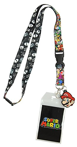 Nintendo Super Mario Characters Reversible Breakaway Keychain Lanyard with ID Holder, Rubber Mario Charm and Collectible Sticker -