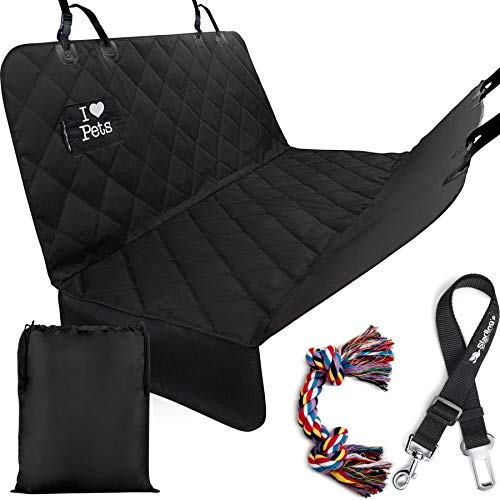 Starlings Dog Car Seat Covers - Car Hammock for Dogs, Heavy Duty & Waterproof Cover for Cars Backseat & SUVs W/Car Pet Seat-Belt & Dog Toy