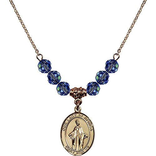 18-Inch Hamilton Gold Plated Necklace with 6mm Light Blue September Birth Month Stone Beads and Our Lady of Africa Charm by Bonyak Jewelry