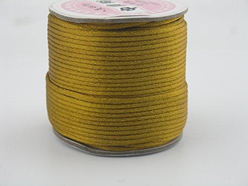 - KONMAY 50 Yards 2.0MM Rattail/Bugtail Satin Silk Cord Shamballa Macrame Beading Nylon Kumihimo String (Old Gold 563)