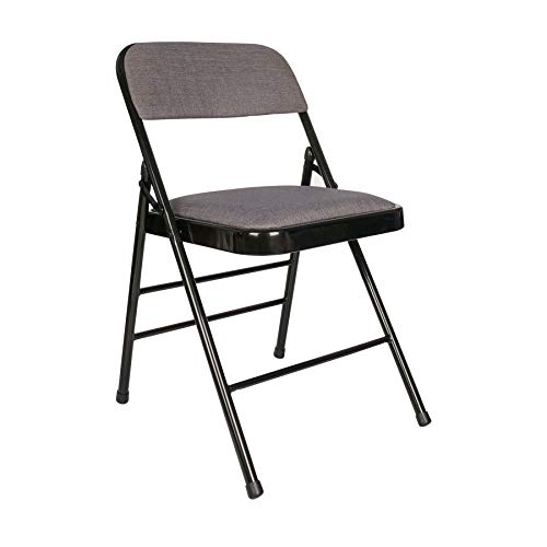 Cosy7 Nova Collection Deluxe Padded Fabric Folding Chairs Grey Set of 2   Strong Steel Frame, Comfy Cushioned Seat, Foldable & Easy Store Away   For Guest, Visitor & Conference