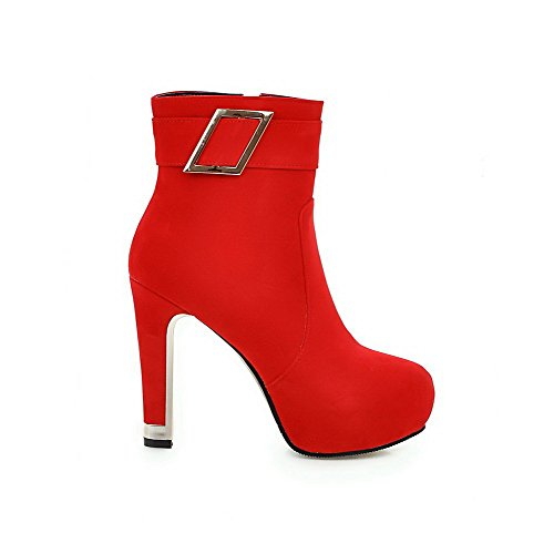 Allhqfashion Women's Solid High-Heels Round Closed Toe Flock Zipper Boots Red Rn5k786yW