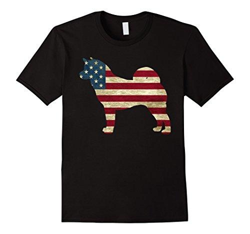 Mens Akita Hound dog American Patriot US Flag Dog shirts 3XL Black