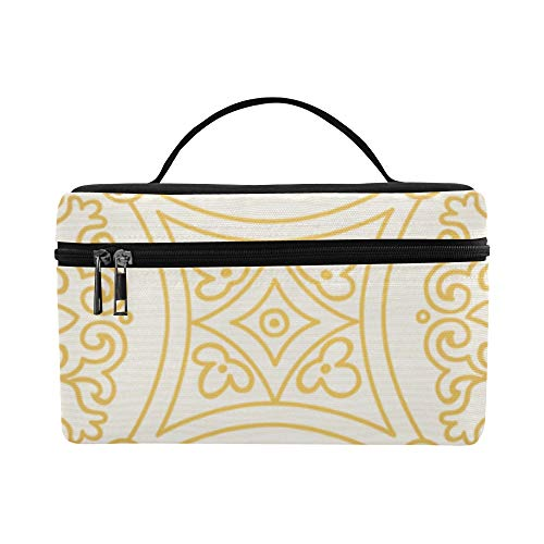 Persian Style Ethnic Large Capacity Size Lady Cosmetic Bag Makeup Organizer Lunch Box Tote Holder Case Cooler For Girl Women Travel Picnic