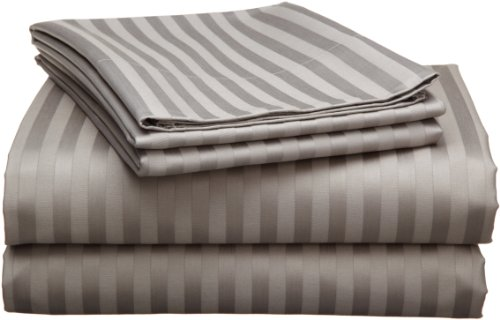 Echelon 800 Egyptian Stripe Full Sheet Set, Pewter - Egyptian Cotton Stripes Bed Pillow