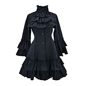 Nite closet Gothic Dresses for Women Long Sleeves Multi Layers Classic Lolita Black Vintage