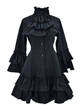 Nite closet Gothic Dresses For Women Black Vintage Victorian Tunic Fit Style (US8-10)