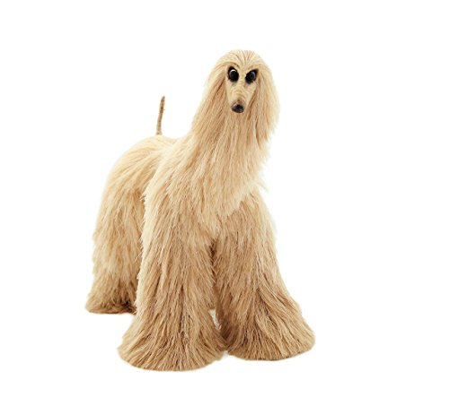 Needle Felted Dogs (Beige Afghan Hound Poseable Miniature Cute Plush Collectible Art Doll Needle Felted Dog)
