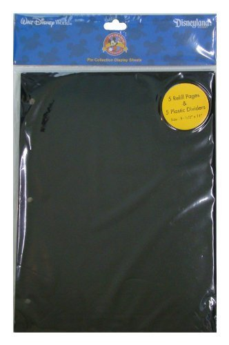 Disney World Parks Exclusive Pin Trading 3-Ring Binder Album Black Refill & Divider Pages (Best Disney World Park)