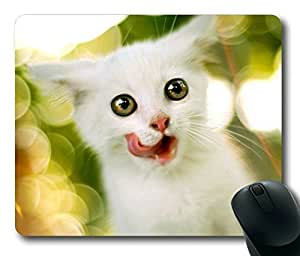Pink Ladoo? Armener Rectangle Mouse Pad With White Kitten