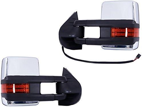 2015 Style HWT APA Chevy Silverado GMC Sierra Truck 07-13 Chrome Power Heat Signal Clearance Lamp Tow Mirror Set Pair