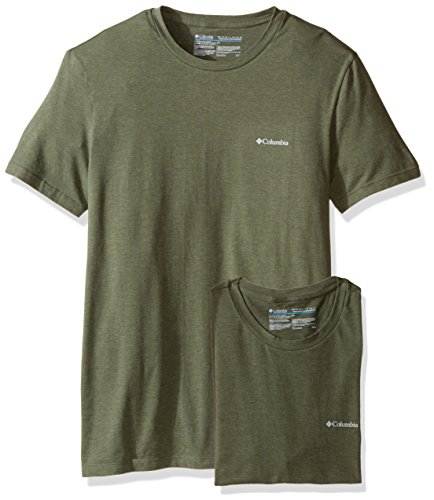 Columbia Men's 2-Pack Performance Cotton Stretch Crew Neck T-Shirt, Dusty Olive/Green, - Green Heathered Olive