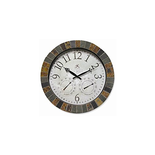 (ICE CARATS Slate Mosaic Border Wall Clock Indoor Outdoorecast Home Decor Nautical Weather Fashion Jewelry Gifts for Women for Her)