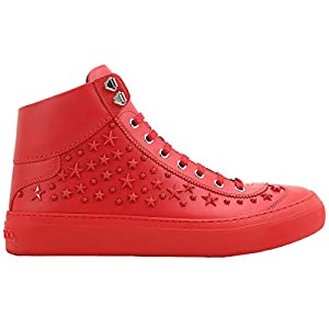 Jimmy Choo Men's ARGYLEOMXRED Red Leather Hi Top Sneakers