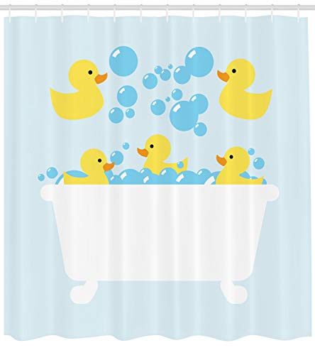 ower Curtain, Yellow Rubber Poultry Toys Inside a Tub Abstract Cartoon Style Drawing with Bubbles, Fabric Bathroom Decor Set with Hooks, 70 Inches, Multicolor ()