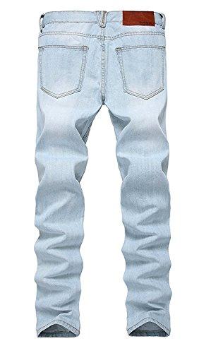 Beautface Makeup Handsome Men's Ripped Slim Fit Tapered Leg Jeans Vintage Blue30Wx31L(Tag 32) by Beautface Makeup Pants