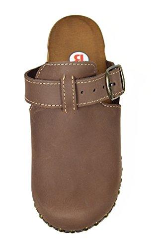 mit Holzschuhe Design und Noppen Schnallen Damen Nubukleder Leder aus E6vxaw5q5