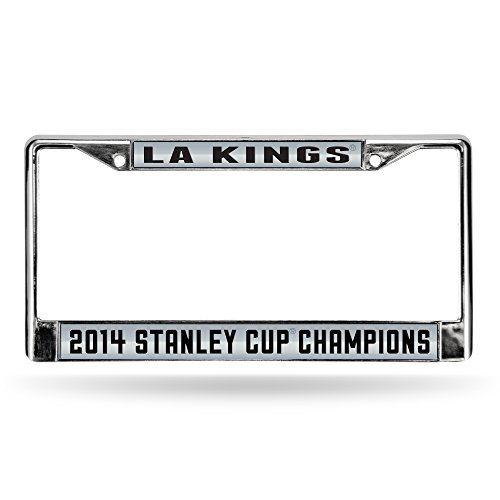 NHL 2014 NHL Stanley Cup Champions Laser-Cut Chrome Auto License Plate Frame (Hockey Puck Frame)