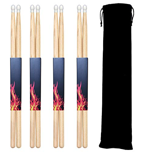 - FluTune 7A Wood Tip Drumsticks - 4 Pairs Classic Maple Drum Stick for Youth, Beginners and Adults